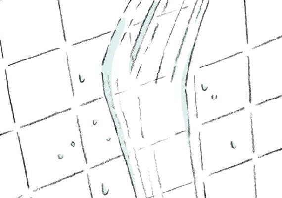 壁・鏡を洗い流す