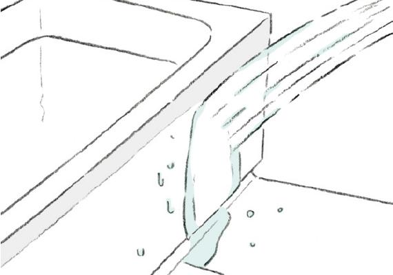 浴槽・エプロンを洗い流す