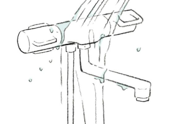 カウンター・水栓金具を洗い流す