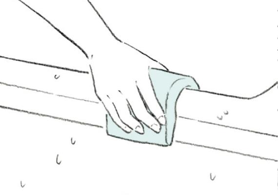 浴槽を洗い流してふく